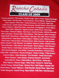 Class shirt with student names.