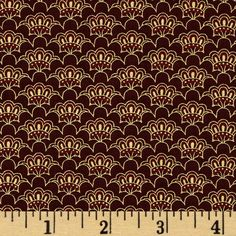 Valencia Metallic Scallop Wine from @fabricdotcom  Designed Chong-A Hwang for Timeless Treasures, this cotton print fabric is perfect for quilting, apparel, crafts, and home decor items. Features a gold metallic design throughout.