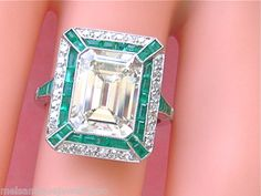 ESTATE ART DECO 4.47 ct EMERALD CUT CENTER DIAMOND 1 ctw EMERALD PLATINUM RING