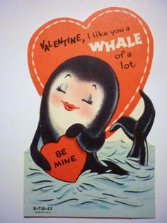 Unused-Vintage-1950s-Valentines-Day-Card-Anthropomorphic-Whale-Fish-Valentine