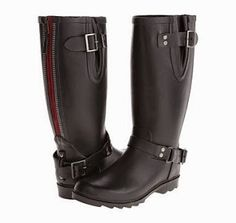 Rain Boots With Extra Wide Calf: These are Gabriella Rocha Mariene Wide Calf. I really love the uniqueness of these boots and how trendy they look. Easy pull-on construction. Rubber upper with strap and buckle accents.