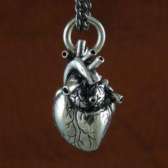 Anatomical Heart Necklace Antique Silver Anatomical von LostApostle