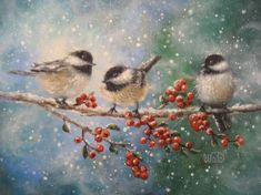 Three Chickadees Print - chickadees art, bird paintings, winter birds, snow birds, Vickie Wade Art via Etsy