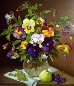 Still life painting with pansies Flower Vases, Flower Art, Flower Arrangements, Art Floral, Watercolor Flowers, Watercolor Paintings, Still Life Art, Beautiful Paintings, Pansies
