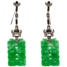 Art Deco Onyx Jade Diamond Platinum Earrings | From a unique collection of vintage drop earrings at https://www.1stdibs.com/jewelry/earrings/drop-earrings/