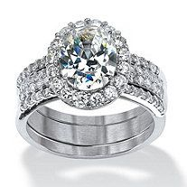 3 Piece 3.72 TCW Oval-Cut Cubic Zirconia Halo Bridal Ring Set in Platinum over Sterling Silver