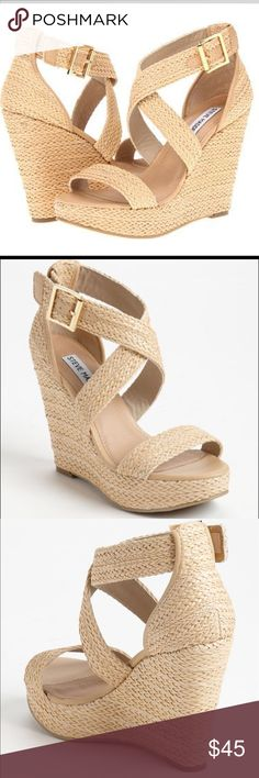 "PRICE ⬇️‼️ Steve Madden 'Haywire' wedge sandal Super cute and versatile wedge. Cross-cross strap makes legs look skinnier and longer. Flattering and comfortable- they're the perfect wedge for spring!  Approx. heel height: 4"" with 1"" platform (comparable to a 3"" heel). Only worn a few times- in great condition Steve Madden Shoes Wedges"