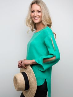 NEW in store and online today! The hottest colour of this season! Stacey wears the linen slash sleeve top in leaf green!