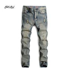 2016 brand mens fashion jeans men pants perfumes 100 original jeans men hip hop belts for men hole white straight jeans B2556