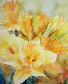 Watercolor - I'm ready for Spring and daffodils!