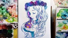 Watercolor+Gouache Speedpainting - Galaxy flower crown girl