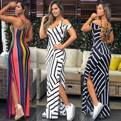 Image may contain: 3 people, stripes Sexy Outfits, Classy Outfits, Dress Outfits, Fashion Outfits, Cute Dresses, Casual Dresses, Summer Dresses, Robes Glamour, Dress Indian Style