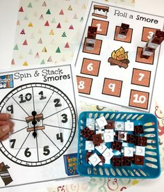 Preschool Counting Activity - Spin, Count and Stack Smores Preschool Camping Activities, Camping Crafts, Learning Activities, Preschool Activities, Preschool Lessons, Preschool Learning, Teaching Math, Summer School Themes, Kindergarten Readiness