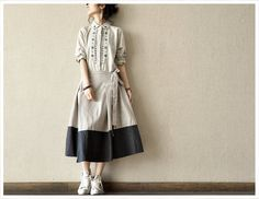 Grey Fit Linen Long Sleeved Embroidering Flower by Beautygirl02, $50.00