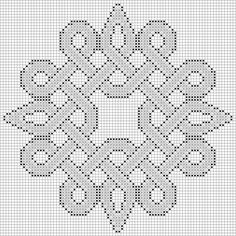 Sample of the free Celtic knot inspired Knotty Entanglements cross stitch patterns. This knot is called Event Horizon, and like all Knotty Entanglements you choose the color groups to customize your design.