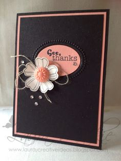 Laura's dramatic card uses Flower Shop, Really Good Greetings, Designer Frames embossing folder, & Pansy Punch.