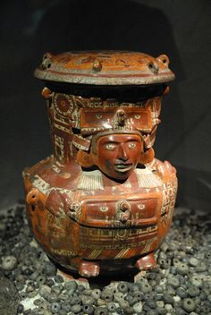 This beautiful ceramic vessel was found at the Aztec Templo Mayor in Mexico City. It was an offering to Tlaloc