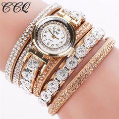 Crystals Rhinestones wrap bracelet beige band fashion rhinestones woman dress watch