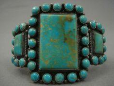 RARE Vintage Navajo Blue Royston Turquoise Silver Bracelet | eBay