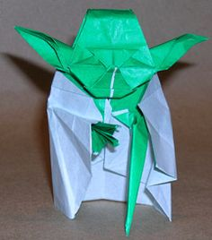 "Origami -Jedi Master Yoda by Fumiaki Kawahata: ""May the Fold be with You.""  http://www.spitenet.com/origami/Yoda-v.shtml"