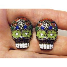 Day of the Dead Black Skull Cufflinks Gothic Sugar Skeleton Red Blue Enamel Mens Cuff links. $39.99, via Etsy.