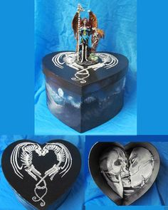 "Dia De Los Muertos Day of the Dead Skeleton Fairy and Dragon ""Obsessed"" ern box"