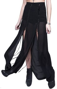 Cult Kiss chiffon maxi skirt with princess seam lace up details. Gothic Outfits, Gothic Dress, Dark Fashion, Gothic Fashion, Witch Fashion, Pin Up Outfits, Fashion Outfits, Goth Skirt, Long Skirt Fashion