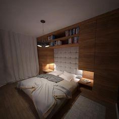Drewniana zabudowa w sypialni
