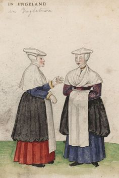 """""""""""""""""""Detail of a miniature of women 'in England'; from Códice de trajes, Germany, BNE MS Res f. ---- White felt hats, mentioned by travelers as being typical of women's everyday wear during the early- mid over coifs or head-rails. Renaissance Costume, Renaissance Fashion, Medieval Life, Medieval Hats, 16th Century Clothing, Medieval Manuscript, Tudor Style, British Library, 14th Century"""