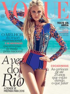 Caroline Trentini wears swimsuits Pose on Vogue Brazil Magazine November 2015 cover shoot