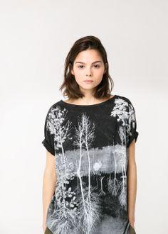 T-shirt coton forêt estompée
