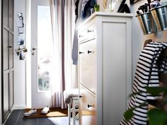 Heavy traffic hallway    Shallow wardrobes and high capacity shoe storage are key to organising a busy hallway.