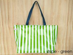 oilcloth green stripe large bag $69
