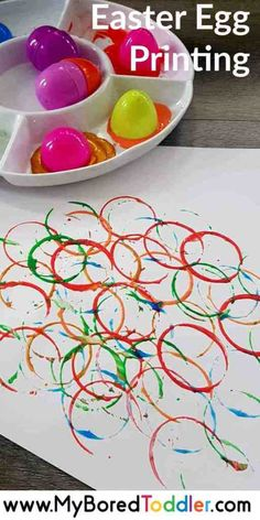 easter egg printing - a fun toddler painting activity using plastic Easter eggs. - easter egg printing – a fun toddler painting activity using plastic Easter eggs. A great process - Easter Arts And Crafts, Easter Crafts For Kids, Spring Crafts, Toddler Arts And Crafts, Easter Crafts For Preschoolers, Holiday Crafts, Toddler Painting Activities, Easter Activities For Toddlers, Crafts Toddlers