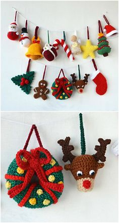 You'll love these Crochet Christmas Ornaments Patterns and we have loads for you to choose from. Crochet Christmas Wreath, Crochet Wreath, Crochet Christmas Decorations, Crochet Decoration, Crochet Ornaments, Christmas Crochet Patterns, Holiday Crochet, Christmas Knitting, Crochet Crafts