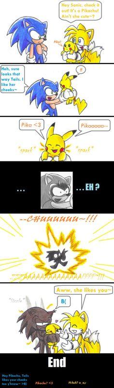 Sonic meets Pikachu by KGN-000 on DeviantArt