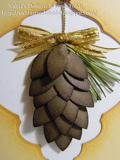 pine cone tutorial — uses SU Blossoms Petal punch and Spellbinders Fancy Tags 2