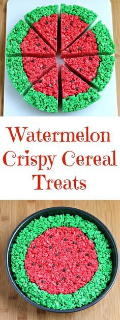 watermelon crispy cereal treats summer - Recipes by Chocolate Slopes - Party Watermelon Birthday Parties, First Birthday Parties, Birthday Party Themes, First Birthdays, 2nd Birthday, Cereal Treats, Rice Crispy Treats, Krispie Treats, Party Snacks