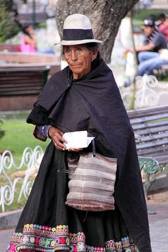 bolivia, sucre, woman in traditional dress