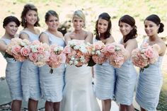 light blue dresses and pink flowers