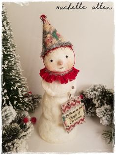 paper clay BELIEVE in the MAGIC of CHRISTMAS folk art snowman doll n paper santa cone hat handmade by Michelle Allen - Raggedy Pants Designs by RaggedyPantsDesigns on Etsy