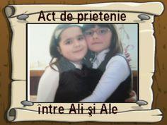 Actul de prietenie dintre mine si Ali (il pastram din clasa 1) <3