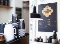 The Monocle Café - mondomulia love the cups, branding, decor