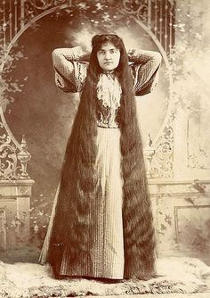Women in the Victorian era competed to see who has the strongest next muscles. To prove their strength, these sporting types would grow a ton of hair on this heads