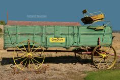 Old John Deere Wagon Farm Equipment Americana art Old by Old Farm Equipment, John Deere Equipment, Old Tractors, John Deere Tractors, Antique Tractors, Horse Drawn Wagon, Old Wagons, Farm Tools, Vintage Farm
