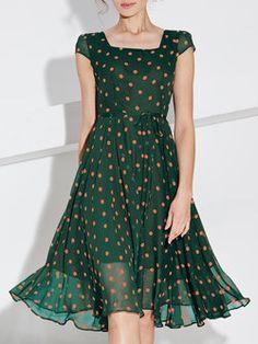 Green Casual Polyester Polka Dots Midi Dress