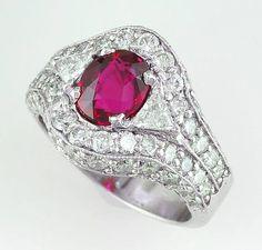 2.16 carat unheated, flawless Burma ruby in platinum and diamonds.