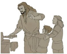 Thorin engaging in some Bitter Smithing, all serious-like, while wee!Fili and Kili are goofing off trying to distract him.