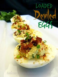 Delicious Loaded Deviled Eggs Delicious Loaded Deviled Eggs - Tales of a Ranting Ginger Fried Deviled Eggs, Sriracha Deviled Eggs, Avocado Deviled Eggs, Bacon Deviled Eggs, Deviled Eggs Recipe, Avocado Egg, Egg Recipes, Light Recipes, Appetizer Recipes