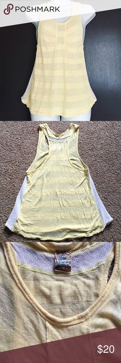 {Free People} Yellow Racerback Tank Free People Yellow Mesh Striped Racerback Tank; Mesh panel insert along the sides and across the top of back; Slight stripe pattern; Size M; EUC (no stains or defects) Free People Tops Tank Tops